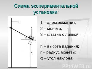 1 – электромагнит; 1 – электромагнит; 2 – монета; 3 – штатив с лапкой; h – высот