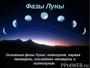 Основные фазы Луны: новолуние, первая четверть, последняя четверть и полнолуние.