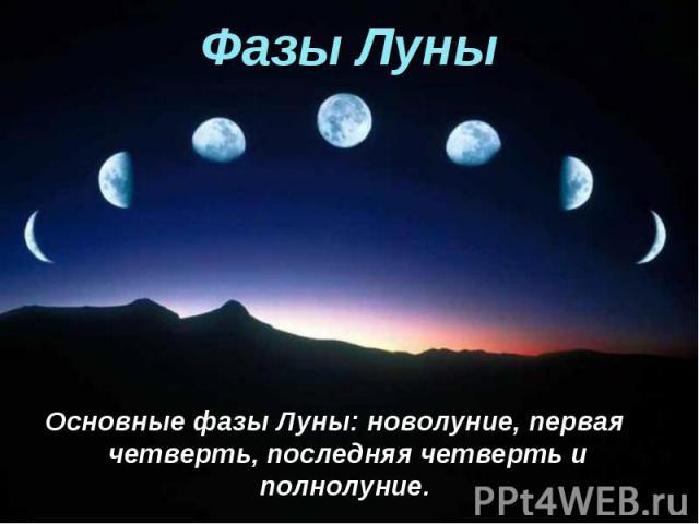 Основные фазы Луны: новолуние, первая четверть, последняя четверть и полнолуние. Основные фазы Луны: новолуние, первая четверть, последняя четверть и полнолуние.