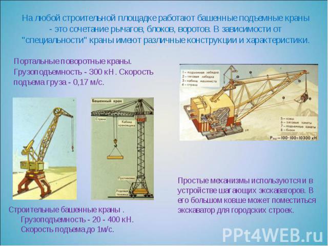 """На любой строительной площадке работают башенные подъемные краны - это сочетание рычагов, блоков, воротов. В зависимости от """"специальности"""" краны имеют различные конструкции и характеристики. Портальные поворотные краны. Грузоподъемность -…"""