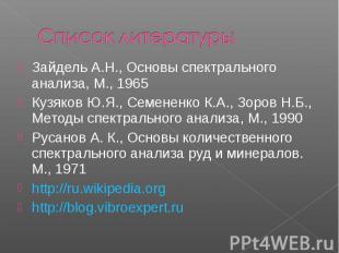 Зайдель А.Н., Основы спектрального анализа, М., 1965 Зайдель А.Н., Основы спектр