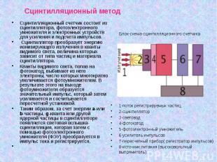 Сцинтилляционный метод Сцинтилляционный счетчик состоит из сцинтиллятора, фотоэл