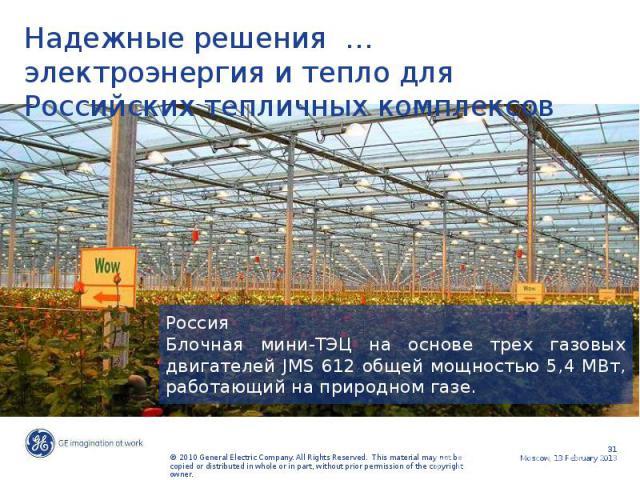 Надежные решения … электроэнергия и тепло для Российских тепличных комплексов