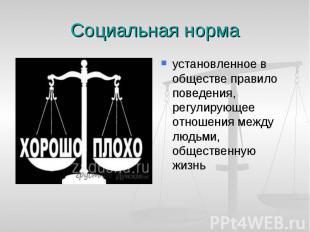 Социальная норма установленное в обществе правило поведения, регулирующее отноше
