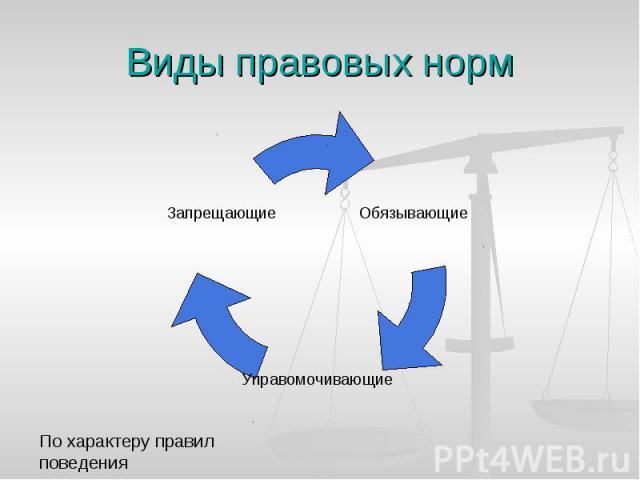 Виды правовых норм