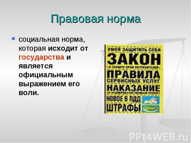 Правовая норма социальная норма, котораяисходит от государства и является официальным выражением его воли.