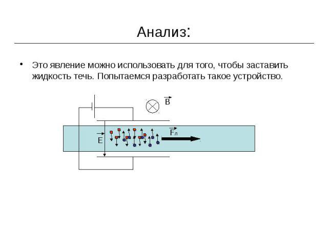 Анализ: Это явление можно использовать для того, чтобы заставить жидкость течь. Попытаемся разработать такое устройство.