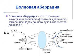 Волновая аберрация Волновая аберрация – это отклонение выходящего волнового фрон