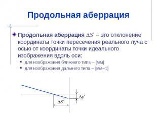Продольная аберрация Продольная аберрация S – это отклонение координаты точки пе