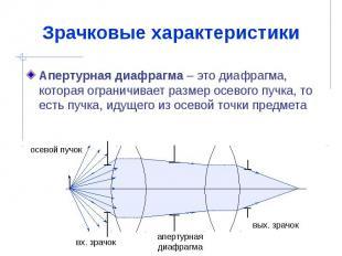 Зрачковые характеристики Апертурная диафрагма – это диафрагма, которая ограничив