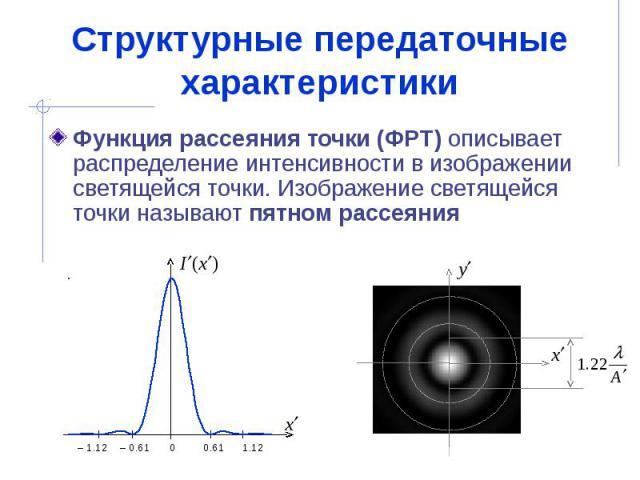 Структурные передаточные характеристики Функция рассеяния точки (ФРТ) описывает распределение интенсивности в изображении светящейся точки. Изображение светящейся точки называют пятном рассеяния