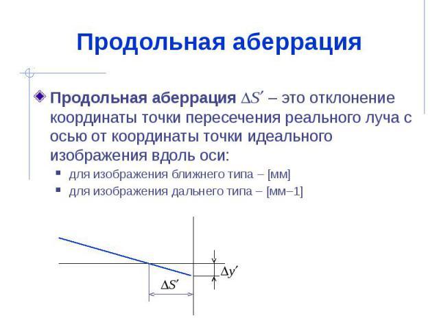 Продольная аберрация Продольная аберрация S – это отклонение координаты точки пересечения реального луча с осью от координаты точки идеального изображения вдоль оси: для изображения ближнего типа – [мм] для изображения дальнего типа – [мм–1]