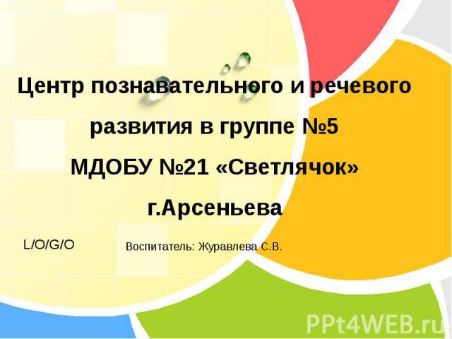 Центр познавательного и речевого развития в группе №5 МДОБУ №21 «Светлячок» г.Арсеньева