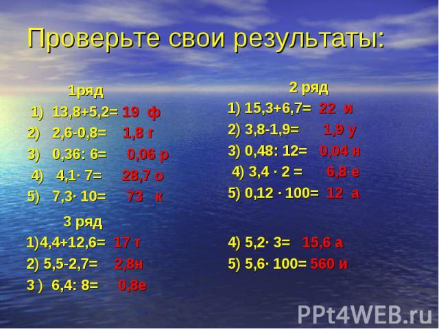 1ряд 1) 13,8+5,2= 19 ф 2) 2,6-0,8= 1,8 г 3) 0,36: 6= 0,06 р 4) 4,1· 7= 28,7 о 5) 7,3· 10= 73 к