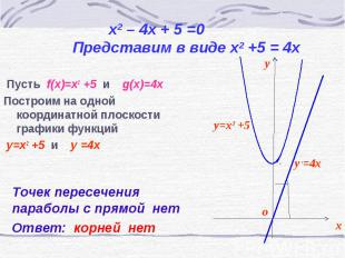 Пусть f(x)=x2 +5 и g(x)=4x Пусть f(x)=x2 +5 и g(x)=4x Построим на одной координа