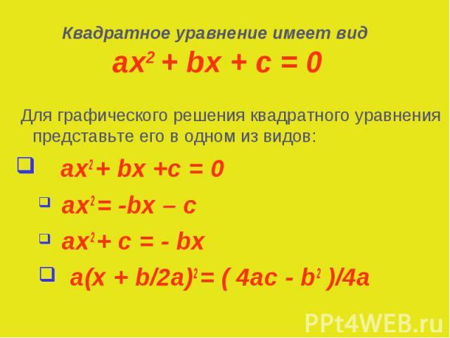 Для графического решения квадратного уравнения представьте его в одном из видов: Для графического решения квадратного уравнения представьте его в одном из видов: ax2 + bx +c = 0 ax2 = -bx – c ax2 + c = - bx a(x + b/2a)2 = ( 4ac - b2 )/4a