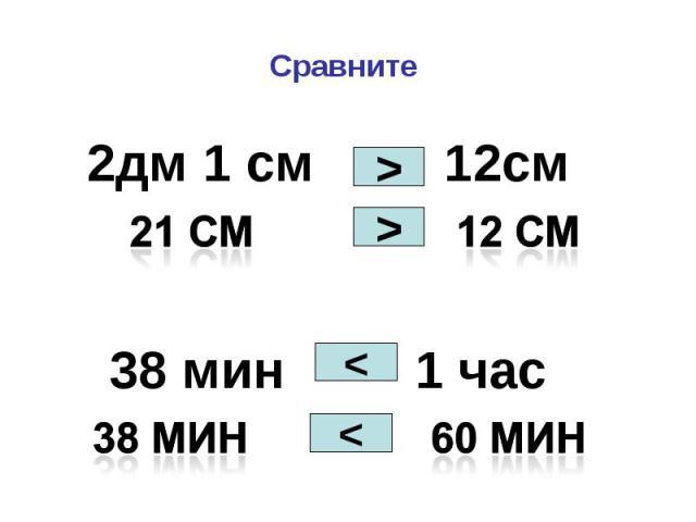 2дм 1 см 12см 2дм 1 см 12см 38 мин 1 час