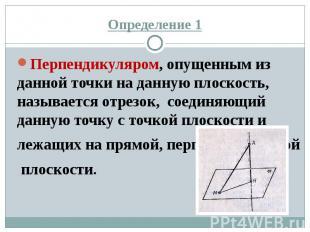 Определение 1 Перпендикуляром, опущенным из данной точки на данную плоскость, на