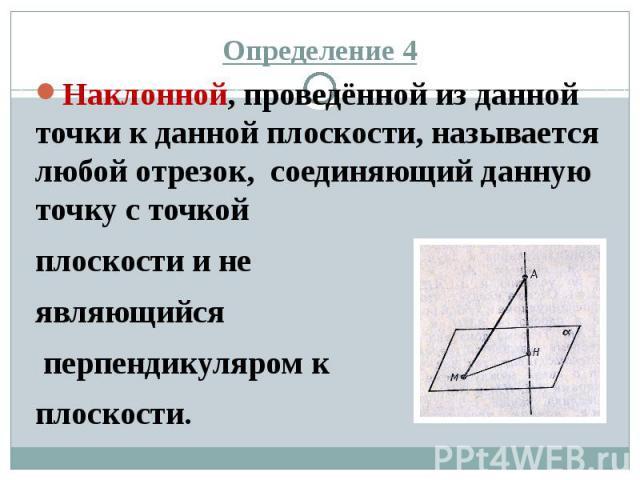 Определение 4 Наклонной, проведённой из данной точки к данной плоскости, называется любой отрезок, соединяющий данную точку с точкой плоскости и не являющийся перпендикуляром к плоскости.
