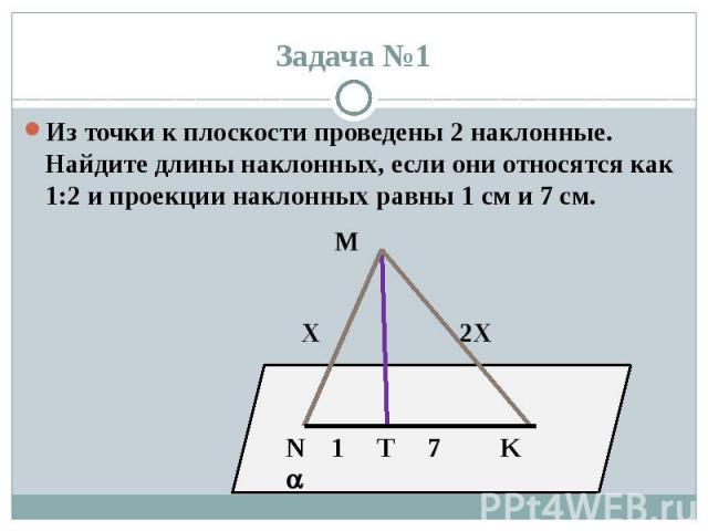 Задача №1 Из точки к плоскости проведены 2 наклонные. Найдите длины наклонных, если они относятся как 1:2 и проекции наклонных равны 1 см и 7 см. М Х 2Х