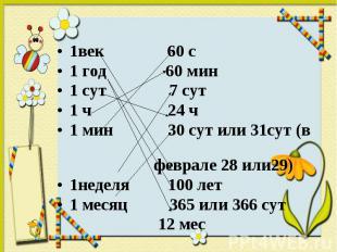 1век 60 с 1век 60 с 1 год 60 мин 1 сут 7 сут 1 ч 24 ч 1 мин 30 сут или 31сут (в