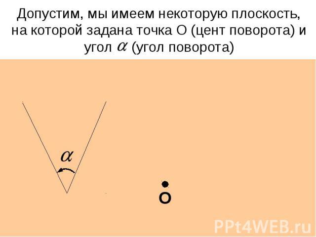 Допустим, мы имеем некоторую плоскость, на которой задана точка О (цент поворота) и угол (угол поворота)
