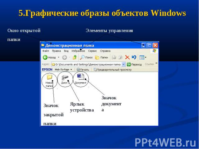 5.Графические образы объектов Windows