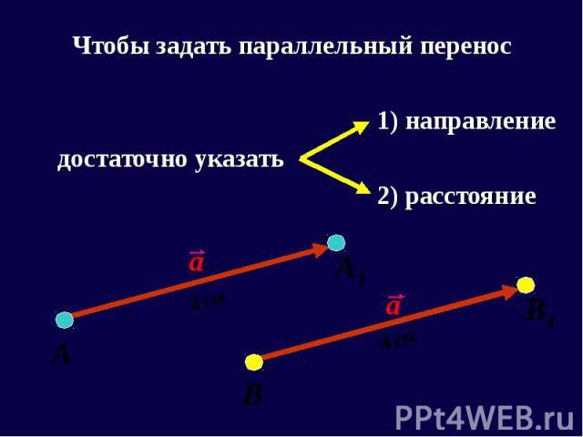 Чтобы задать параллельный перенос Чтобы задать параллельный перенос 1) направление достаточно указать 2) расстояние