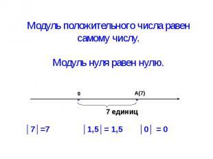 Модуль положительного числа равен самому числу. Модуль нуля равен нулю.