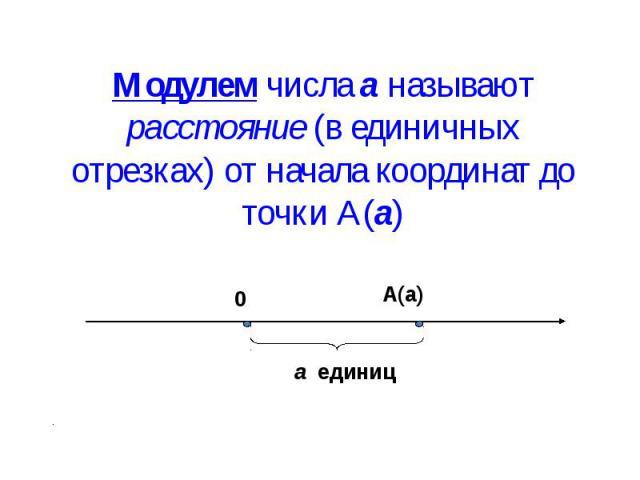 Модулем числа а называют расстояние (в единичных отрезках) от начала координат до точки А(а)