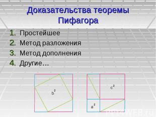 Доказательства теоремы Пифагора Простейшее Метод разложения Метод дополнения Дру