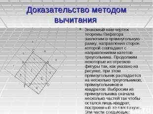 Доказательство методом вычитания Знакомый нам чертеж теоремы Пифагора заключим в