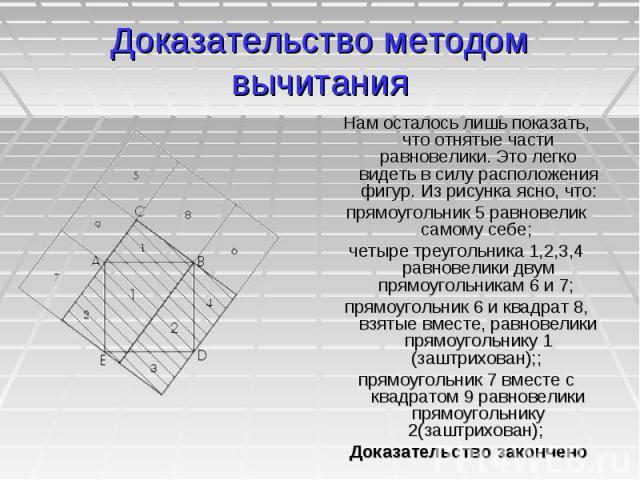 Доказательство методом вычитания Нам осталось лишь показать, что отнятые части равновелики. Это легко видеть в силу расположения фигур. Из рисунка ясно, что: прямоугольник 5 равновелик самому себе; четыре треугольника 1,2,3,4 равновелики двум прямоу…