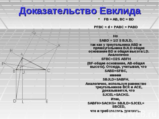 Доказательство Евклида FB=AB, BC=BD РFBC=d+РABC=РABD Но SABD=1/2SBJLD, так как у треугольника ABD и прямоугольника BJLD общее основание BD и общая высота LD. Аналоги…
