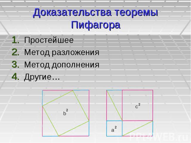 Доказательства теоремы Пифагора Простейшее Метод разложения Метод дополнения Другие…