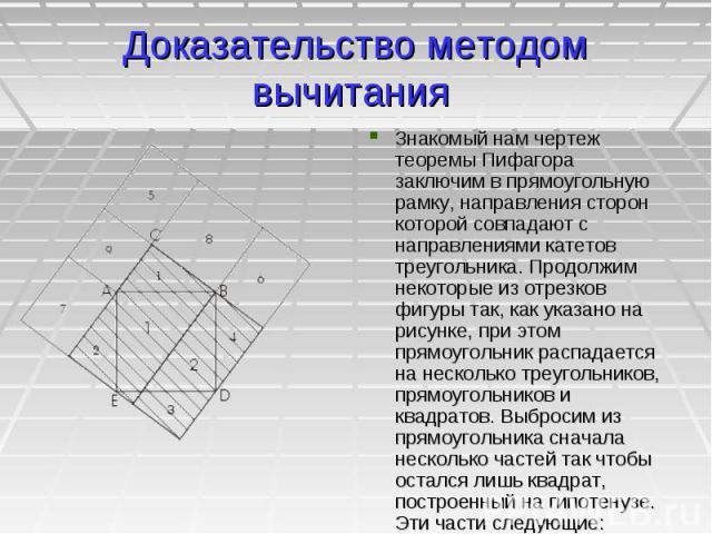Доказательство методом вычитания Знакомый нам чертеж теоремы Пифагора заключим в прямоугольную рамку, направления сторон которой совпадают с направлениями катетов треугольника. Продолжим некоторые из отрезков фигуры так, как указано на рисунке, при …