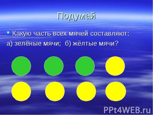 Какую часть всех мячей составляют: Какую часть всех мячей составляют: а) зелёные мячи; б) жёлтые мячи?