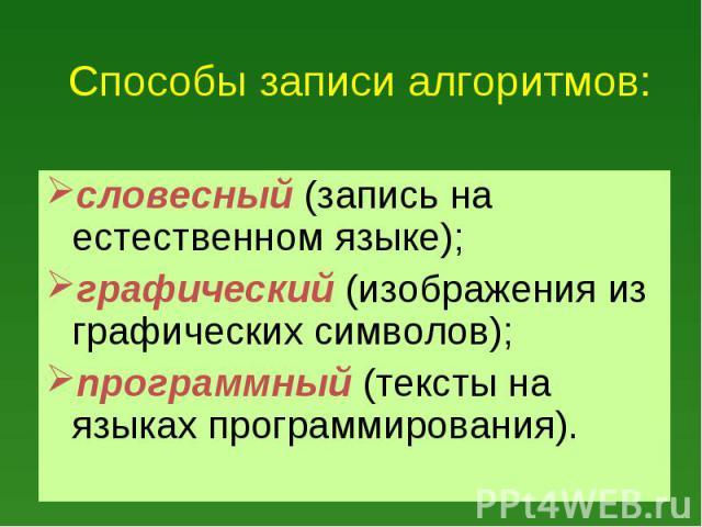 словесный (запись на естественном языке); словесный (запись на естественном языке); графический (изображения из графических символов); программный (тексты на языках программирования).
