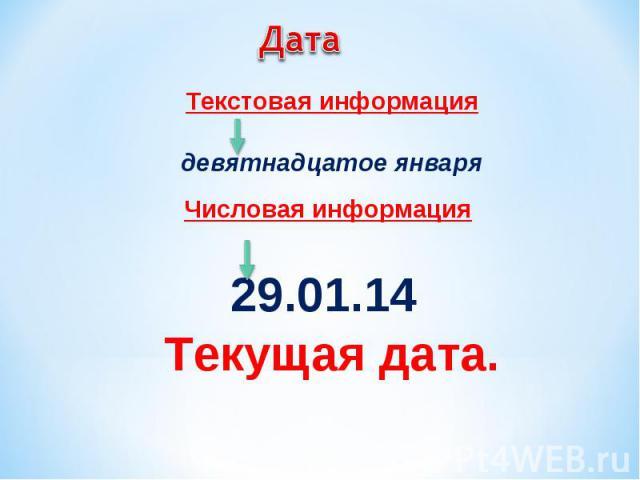 Текстовая информация Текстовая информация девятнадцатое января Числовая информация 29.01.14 Текущая дата.