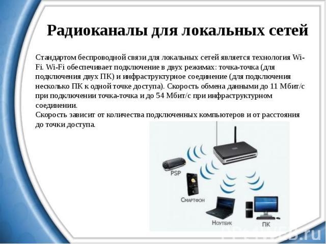 Радиоканалы для локальных сетей Стандартом беспроводной связи для локальных сетей является технология Wi-Fi. Wi-Fi обеспечивает подключение в двух режимах: точка-точка (для подключения двух ПК) и инфраструктурное соединение (для подключения нескольк…