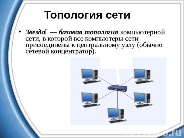 Звезда — базовая топология компьютерной сети, в которой все компьютеры сети присоединены к центральному узлу (обычно сетевой концентратор). Звезда — базовая топология компьютерной сети, в которой все компьютеры сети присоединены к центральному узлу …
