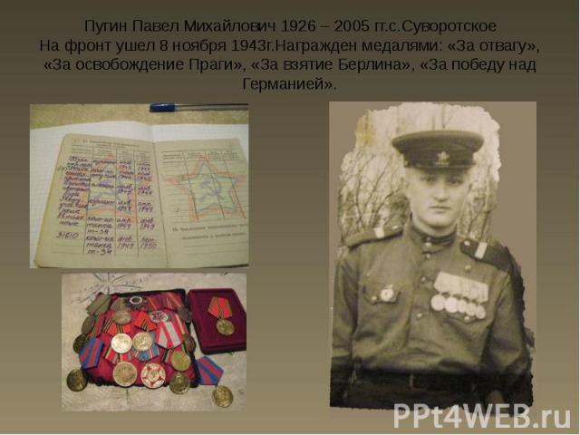 Пугин Павел Михайлович 1926 – 2005 гг.с.Суворотское На фронт ушел 8 ноября 1943г.Награжден медалями: «За отвагу», «За освобождение Праги», «За взятие Берлина», «За победу над Германией».