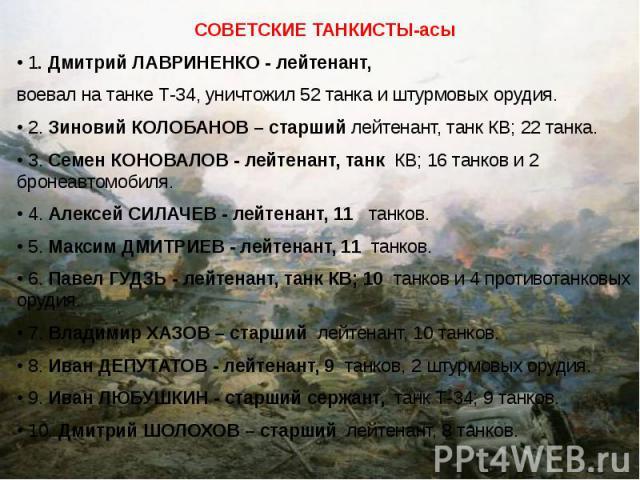 СОВЕТСКИЕ ТАНКИСТЫ-асы СОВЕТСКИЕ ТАНКИСТЫ-асы • 1. Дмитрий ЛАВРИНЕНКО - лейтенант, воевал на танке Т-34, уничтожил 52 танка и штурмовых орудия. • 2. Зиновий КОЛОБАНОВ – старший лейтенант, танк КВ; 22 танка. • 3. Семен КОНОВАЛОВ - лейтенант, танк КВ;…