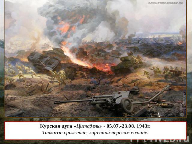 Курская дуга «Цитадель» - 05.07.-23.08. 1943г. Танковое сражение, коренной перелом в войне.