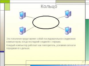 Эта топология представляет собой последовательное соединение компьютеров, когда