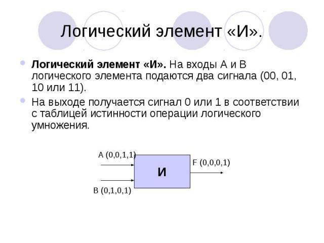 Логический элемент «И». Логический элемент «И». На входы А и В логического элемента подаются два сигнала (00, 01, 10 или 11). На выходе получается сигнал 0 или 1 в соответствии с таблицей истинности операции логического умножения.