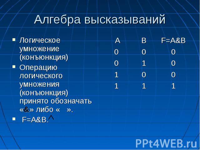 Алгебра высказываний Логическое умножение (конъюнкция) Операцию логического умножения (конъюнкция) принято обозначать «&» либо « ». F=A&B.