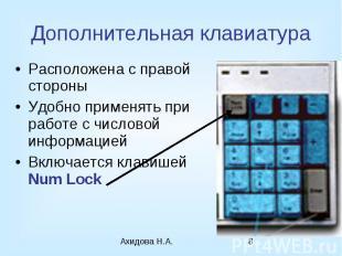 Дополнительная клавиатура Расположена с правой стороны Удобно применять при рабо