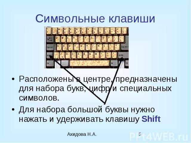 Символьные клавиши Расположены в центре, предназначены для набора букв, цифр и специальных символов. Для набора большой буквы нужно нажать и удерживать клавишу Shift