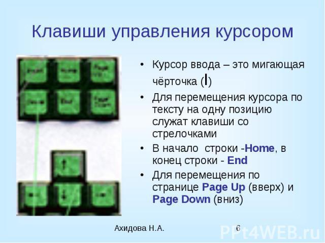 Клавиши управления курсором Курсор ввода – это мигающая чёрточка (I) Для перемещения курсора по тексту на одну позицию служат клавиши со стрелочками В начало строки -Home, в конец строки - End Для перемещения по странице Page Up (вверх) и Page Down (вниз)